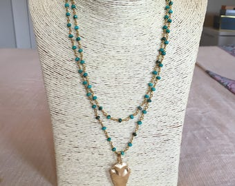 turquoise rosary chain necklace w/ arrowhead