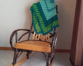 Crocheted Afghan, Vintage Afghan, Blue and Green Afghan, Lapghan, Baby Blanket, Doll Blanket