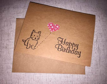 Birthday Card Handmade-Dog Greeting Card-Westie Card