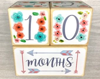 Baby Age Blocks - Baby Milestone Blocks - First Day of School Photo Prop - Watercolor Flowers & Arrows - Blue Coral Grey - Baby Shower Gift