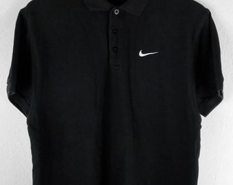 RARE!!! Nike Swoosh Small Logo Embroidery Black Colour Polos T-Shirts S Size