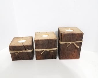 Barn Beam 3 piece Candle Trio