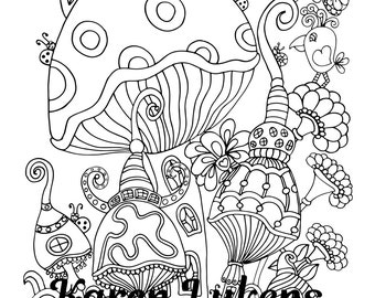 Boho Mushies, 1 Adult Coloring Book Page, Instant Download, Whimsical