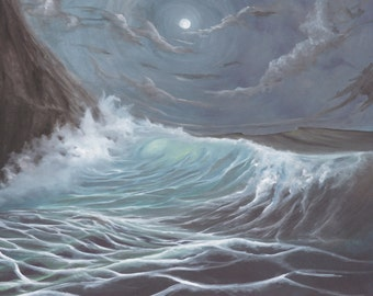 Ocean painting, seascape art, Wave Art, Oil Painting, Ocean painting, Ocean art, Ocean Painting Print, Seascape Painting, Blue Wave