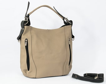 LEATHER HOBO BAG - Leather Shoulder Bag, Handmade, Handbag. Color: Beige