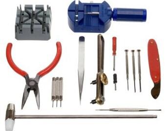 ACENIX® NEW 16 Piece Watch Repair Tool Kit Set Pin & Back Remover