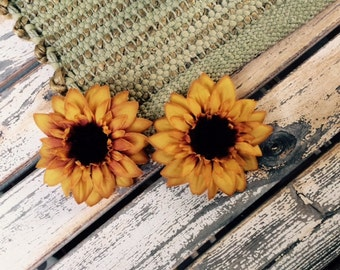 Golden yellow sunflower hair clips, set of two