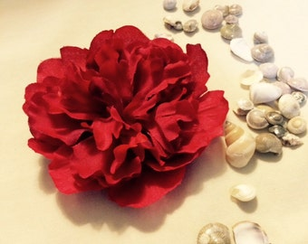 Red silk flower hair clip