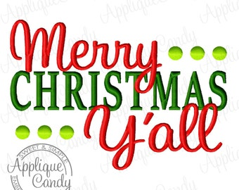 Merry Christmas Y'all Machine Embroidery Design 4x4 5x7 6x10 Christmas INSTANT DOWNLOAD