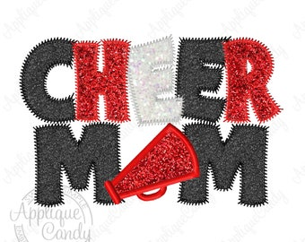 Cheer Mom Applique Machine Embroidery Design 5x7 6x10 INSTANT DOWNLOAD
