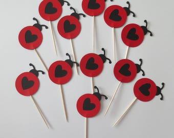 Ladybug Cupcake Toppers - One Dozen