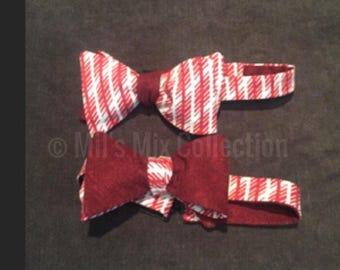 Crimson and Cream Bow Tie, Mixed Colers, Bow Tie,