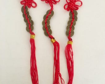 5 Coin Chinese Lucky Feng Shui  Red Tassel Pack of 3 Success Wealth Represents the 5 Elements