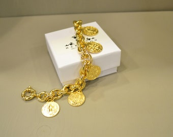 Bracelet with coins knit gilded silver chain
