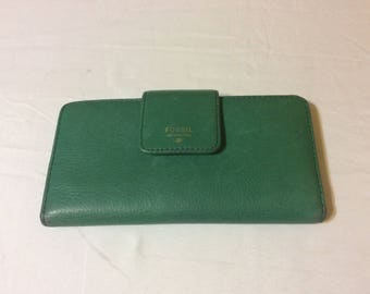 Vintage Fossil Green Leather Wallet