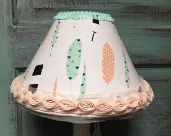 Lampshade tribal feathers mint coral bell shape