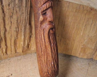"Modified/custom pocket knife / folding knife. Handcarved wooden handle. ""The Wise Wood Spirit"""