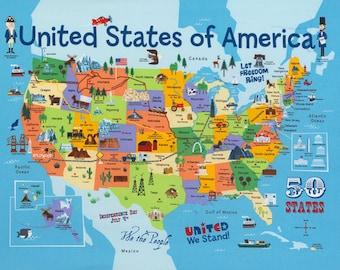 Timeless Treasures USA MAP 100% Cotton Fabric Panel (#113)