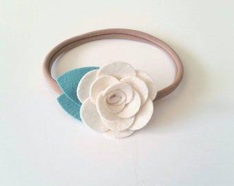 Felt Flower Headband, Felt Flower Hair Clip, Simple Rose, CUSTOM COLORS or Maker's Choice