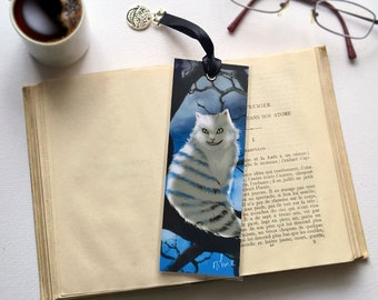 Hand made bookmark - illustrated, laminated, Cheshire Cat