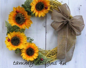 Sunflower Wreath, Summer Wreath, Yellow Grapevine Wreath, Sunflowers and Ladybugs, Country Decor, Front Door Wreath