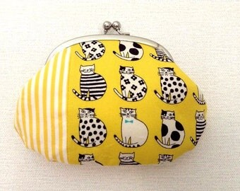 Cats - Metal frame coin purse /colorful/yellow/clutch purse/gadged case/zakka/kawaii/colorful/boho/funny kittens/retro/striped/stripes