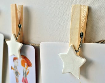 Wooden clothespins, clothespin with tag, with jute rope, decorated clothespin, clothespin set, clothespin wood, star clothespin, clay star