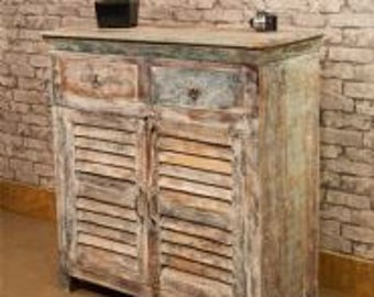 Whitewashed vintage style painted double sideboard. Made from reclaimed hardwood timbers from old furniture.