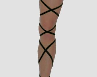 RAVE LEG WRAPS - Dance Party Festival Wear - U.S. Shipping - Hot Colors - Plur - Blacklight Options!