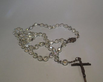 Silver rosary (925milths) with crystal stone balls and cross with Christ