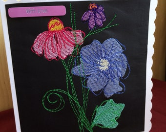 Machine embroidered Birthday card with flowers
