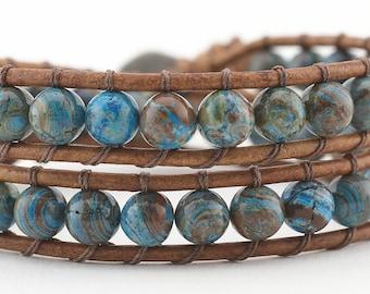 leather wrap bracelet,  beaded bracelet, wrap bracelet, beaded wrap bracelet, Blue Calsilica Jasper, double wrap bracelet, women's bracelet