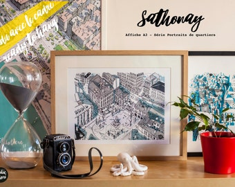 """Affiche encadrée """"SATHONAY"""", Série """" Portraits de quartiers"""", 30x40cm"""