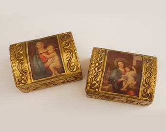 Italian Florentine Gold Gilt Wood Mother and Child Icon Trinket Box set of 2, Hollywood Regency Boudoir Box