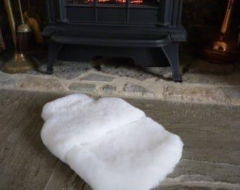Handmade Somerset Sheepskin Hot Water Bottle Cover in Arctic White Straight Fur Sheepskin