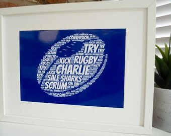 Personalised Rugby Ball Print, Personalised Rugby Print,  Word Art Print, Unframed Print, Personalised Print