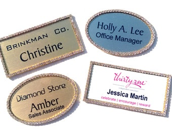 Magnetic Rhinestone Name Tags. Oval and Rectangle. Gold Border.