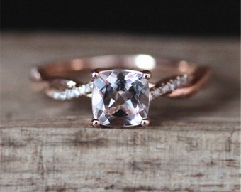 Rose Gold Morganite Engagement Ring Natural 6mm Cushion Cut Morganite Ring Half Eternity Diamonds Ring 14K Rose Gold Ring Anniversary Ring