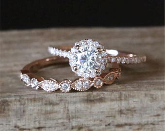 Forever Brilliant Moissanite Engagement Ring Set FB 5mm Moissanite Ring Set Art Deco Half Eternity Wedding Ring Set 14K Rose Gold Bridal Set
