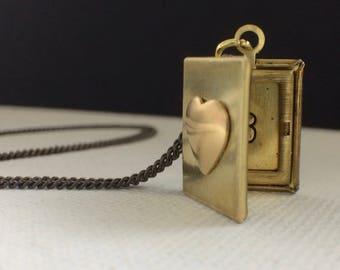 Locket Necklace, Book Locket, Wedding Jewelry, Initial Locket, Monogram Locket, Tiny Locket, Tiny Jewelry, Love Jewelry, Love Book