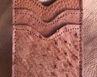 Genuine Ostrich Money Clip Magnet Wallet Cognac