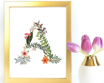 Instant Download Floral Custom Initial Print | Rustic Kraft  Bohemian  Floral Letter Monogram | Nursery Art Home Decor Art  | Fl22