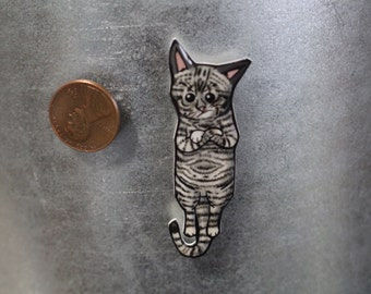 Handmade Black and white Striped grumpy mad Cat