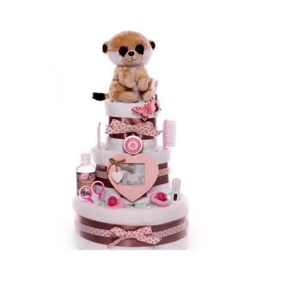 Meerkat three tier baby girl nappy cake, nappy cake gift 3 tiers, large nappy cake for a baby girl