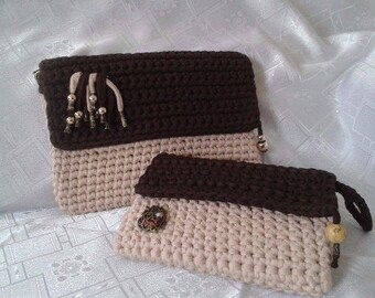 "Clutch - bag to the hombro-Funda tablet or iPad 7.9 ""- 12, 9"", trapillo crochet"