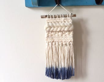 Mini Wall Weave | Woven Wall Hanging | dip dyed fringe, textile, fiber, indigo blue