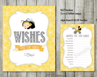wishes for baby bee baby shower invitation, bee and honey comb, typography shower invitation, digital, printable file