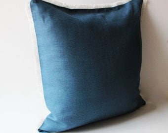 Navy BluePillow with Fringes, Blue Linen Pillow Cover, Linen Pillow Case with Fringes, Blue Linen Pillow case, Handmade Linen Pillow Cover
