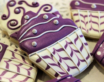 Purple Cupcake Hand-Decorated Vanilla Bean Sugar Cookies - Birthday Cookies