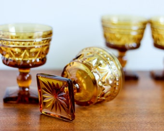 Amber Glass Goblets (set of 4) | Brown Indiana Glass Goblets